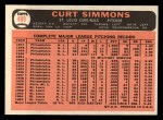 1966 Topps #489   Curt Simmons Back Thumbnail