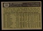 1961 Topps #163   Ed Sadowski Back Thumbnail