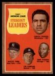 1962 Topps #59  AL Strikeout Leaders  -  Camilo Pascual / Whitey Ford / Jim Bunning / Juan Pizarro Front Thumbnail