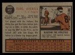 1962 Topps #452  Earl Averill Jr.  Back Thumbnail