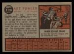 1962 Topps #128 A Art Fowler  Back Thumbnail