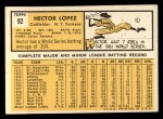 1963 Topps #92   Hector Lopez Back Thumbnail