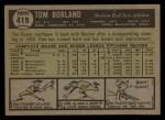 1961 Topps #419   Tom Borland Back Thumbnail