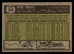 1961 Topps #246  Bob Davis  Back Thumbnail