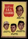 1962 Topps #56  NL ERA Leaders  -  Warren Spahn / Jim O'Toole / Curt Simmons / Mike McCormick Front Thumbnail