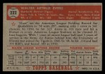 1952 Topps #222   Hoot Evers Back Thumbnail