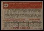 1952 Topps #294   Walker Cooper Back Thumbnail