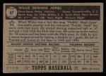 1952 Topps #47 BLK  Willie Jones Back Thumbnail