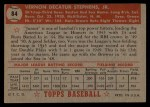 1952 #84  Vern Stephens  Back Thumbnail