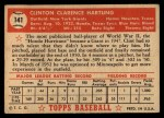 1952 Topps #141  Clint Hartung  Back Thumbnail