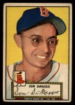 1952 Topps #22 RED  Dom DiMaggio Front Thumbnail