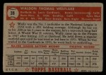 1952 Topps #38 RED Wally Westlake  Back Thumbnail