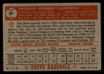 1952 Topps #29 RED Ted Kluszewski  Back Thumbnail