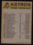 1974 Topps Red Team Checklists #10   Astros Team Checklist Back Thumbnail