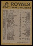 1974 Topps Red Team Checklists #11  Royals Team Checklist  Back Thumbnail
