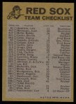 1974 Topps Red Team Checklists #3   Red Sox Team Checklist Back Thumbnail