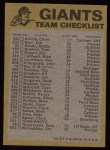 1974 Topps Red Team Checklists #22  Giants Team Checklist  Back Thumbnail