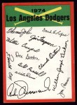 1974 Topps Red Team Checklists #12   Dodgers Team Checklist Front Thumbnail
