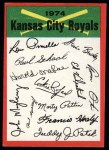 1974 Topps Red Team Checklists #11  Royals Team Checklist  Front Thumbnail