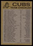 1974 Topps Red Team Checklists #5  Cubs Team Checklist  Back Thumbnail