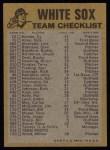 1974 Topps Red Team Checklists #6  White Sox Team Checklist  Back Thumbnail