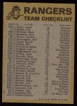 1974 Topps Red Team Checklists #24  Rangers Team Checklist  Back Thumbnail