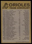 1974 Topps Red Team Checklists #2  Orioles Team Checklist  Back Thumbnail
