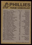 1974 Topps Red Team Checklists #19  Phillies Team Checklist  Back Thumbnail