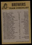 1974 Topps Red Team Checklists #13  Brewers Team Checklist  Back Thumbnail