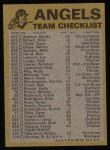 1974 Topps Red Team Checklists #4   Angels Team Checklist Back Thumbnail