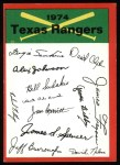 1974 Topps Red Team Checklists #24  Rangers Team Checklist  Front Thumbnail