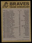1974 Topps Red Team Checklists #1   -       Braves Team Checklist Back Thumbnail
