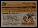 1960 Topps #177  Johnny Kucks  Back Thumbnail