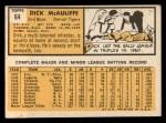 1963 Topps #64  Dick McAuliffe  Back Thumbnail