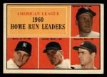 1961 Topps #44  AL HR Leaders  -  Rocky Colavito / Jim Lemon / Mickey Mantle / Roger Maris Front Thumbnail