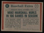 1975 Topps #6  Marshall Hurls In 106 Games  -  Mike Marshall Back Thumbnail