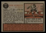 1962 Topps #361  Bob Hendley  Back Thumbnail