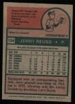 1975 Topps #124  Jerry Reuss  Back Thumbnail