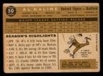 1960 Topps #50  Al Kaline  Back Thumbnail
