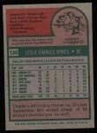 1975 Topps #135  Charlie Spikes  Back Thumbnail