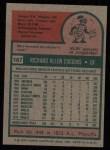 1975 Topps #167   Rich Coggins Back Thumbnail