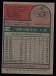 1975 Topps #119   Tommy Helms Back Thumbnail