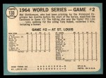 1965 Topps #133  1964 World Series - Game #2 - Stottlemyre Wins  -  Mel Stottlemyre Back Thumbnail