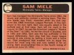 1966 Topps #3  Sam Mele  Back Thumbnail