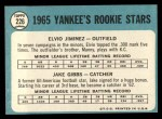1965 Topps #226  Yankees Rookies  -  Jake Gibbs / Elvio Jimenez Back Thumbnail