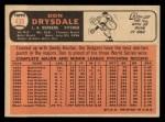1966 Topps #430   Don Drysdale Back Thumbnail