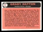 1966 Topps #504   Grady Hatton Back Thumbnail