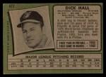 1971 Topps #417   Dick Hall Back Thumbnail