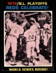 1971 Topps #202  1970 NL Playoffs - Summary - Reds Celebrate Woody Woodard / Angel Bravo / Bob Tolan Front Thumbnail