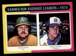 1975 Topps #311  ERA Leaders  -  Catfish Hunter / Buzz Capra Front Thumbnail